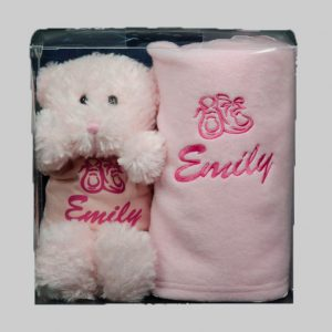 Pink teddy and fleece Blanket box set cotton on, teddy, blanket, personalised baby gift, embroidered,