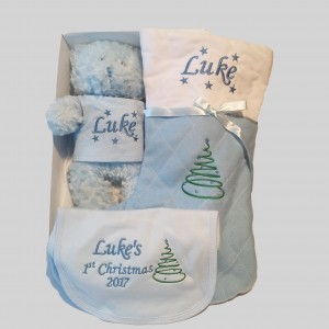 first Christmas Baby blue Christmas Baby Bundle Stocking Bib Teddy personalised gift set