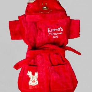 Red Reindeer Robe Baby Robe Toweling First Christmas Cotton On Personalised embroidered keepsake memories
