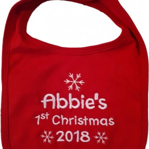 Cotton On Personalised Baby Gift Babygift Baby bib first Christmas 1st Christmas name personalised Red First Christmas Bib