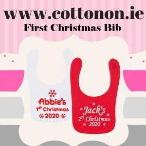 Personalised 1st Christmas Bib White keepsake dribbler 2020 cotton on embroidered Personalised Christmas Gifts Ireland Cotton On Snowflake Stars