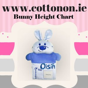 Bunny Height Chart personalised embroidered baby gift new born babygift delivered name date of birth cotton on Pink Blue