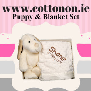 Puppy and Blanket Box Set personalised embroidered baby gift blanket teddy new born babygift delivered boxset name date of birth cotton on Cream