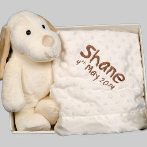 Cream Puppy and Blanket Box set Personalised embroidered baby gift soft quality baby blanket