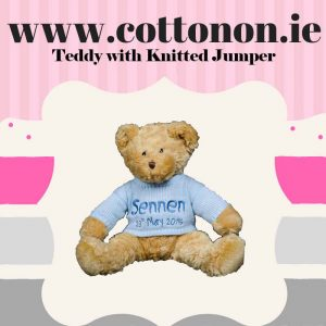 Teddy with knitted jumper, Cotton on personalised gift Beautiful Baby Gifts name newborn birthday