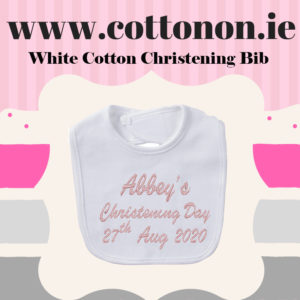 White Cotton Personalised Christening Bib Cotton On Embroidered Keepsake Christening gift Christening Day