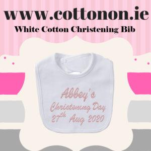 White Cotton Personalised Christening Bib Cotton On Embroidered Keepsake Christening gift Christening Day