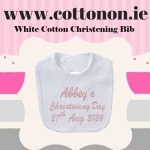 christening bib ireland White Cotton Personalised Christening Bib Cotton On Embroidered Keepsake Christening gift Christening Day
