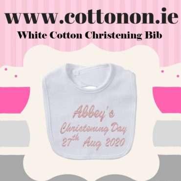 White Cotton Christening Bib