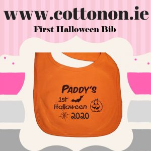 Personalised 1st Halloween Bib Orange dress up keepsake dribbler 2020 cotton on embroidered black baby Personalised Halloween Ireland