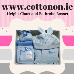 Height Chart and Bathrobe Boxset cotton on personalised embroidered box set gift, pink blue name date of birth beautiful embroidered gift