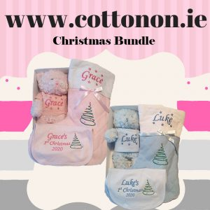 Christmas Bundle Set Christmas Stocking Christmas Teddy 1st Christmas 2020 Bib personalised embroidered baby gift new born babygift delivered name cotton on Pink Blue Personalised gifts Ireland Christmas