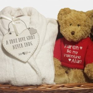 Personalised Valentines Gift Hamper, Personalised Bathrobe, Personalised Valentine Teddy Personalised Gifts Ireland