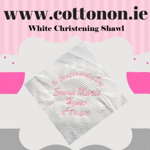 personalised gifts ireland White Christening Shawl personalised by Cotton On will make a great alternative to an Easter egg embroidered with embroidery thread