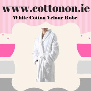 White Velour Bathrobe unisex, 100% Cotton Personalised embroidered birthday anniversary, Cotton On Gifts 2nd wedding anniversary gift