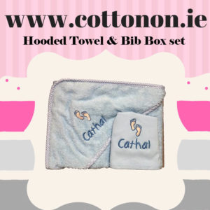Baby Hooded Towel and Bib set Pink or Blue with embroidery cotton on personalised set gift name date of birth beautiful embroidered gift cute feet motif