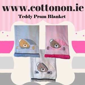 Teddy Pram Blanket Personalised Gift Cotton On Embroidered Keepsake