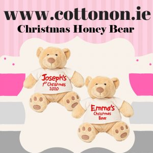 Personalised Christmas Honey Bear embroidered Cotton On Personalised Christmas gifts Ireland !st Christmas 2020
