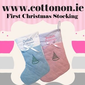 baby first Christmas Stocking 2020 with embroidery Personalised Christmas Stocking Santa Stocking Pink Blue Personalised first christmas stocking Cotton On