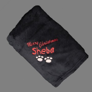 Personalised Doggie Blanket dog cotton on blanket black merry christmas
