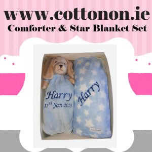 Star Pram Blanket and Comforter Set personalised embroidered baby gift blanket teddy new born babygift delivered boxset name date of birth cotton on comforter