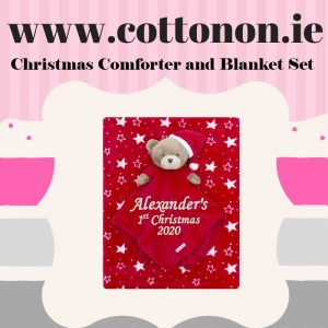 Baby Comfort Blanket Blankie personalised embroidered baby gift blanket new born babygift delivered name cotton on Red Personalised gifts Ireland Christmas comforter
