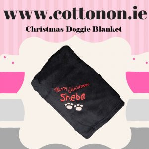 Personalised Dog Blanket Merry Christmas embroidered Personalised Cotton On Personalised Christmas gifts Ireland Dog gift Puppy Gift