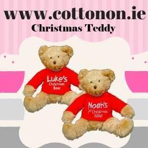 Personalised Christmas Teddy Bear embroidered Cotton On Personalised Christmas gifts Ireland !st Christmas 2020