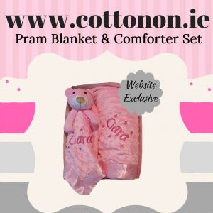 Pram Blanket and Comforter Set personalised embroidered baby gift blanket teddy new born babygift delivered boxset name date of birth cotton on comforter