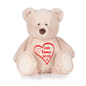 Valentine Bear with Red Heart personalised for Valentines Day, Cotton on personalised gift Beautiful embroidered Gifts name and date