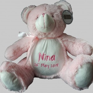 baby bear pink, Cotton on personalised gift name newborn birthday