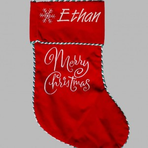 New Merry Christmas Stocking with embroidery Personalised Christmas Stocking Santa Stocking Red Snowflake