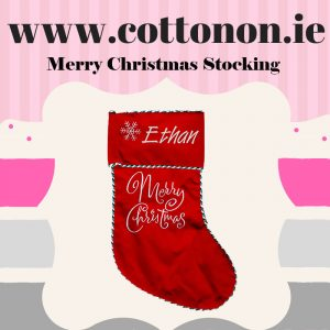 Personalised Christmas Stocking embroidery Personalised Santa Stocking Xmas Stocking Red Merry Christmas Cotton On Personalised Christmas gifts Ireland