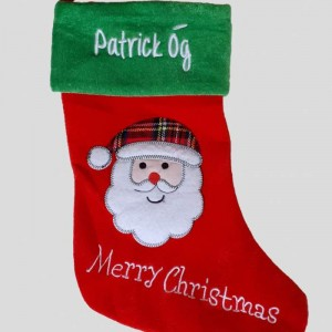 Santa Stocking Green Top New Christmas Stocking with embroidery Personalised Christmas Stocking Santa Stocking Red Green