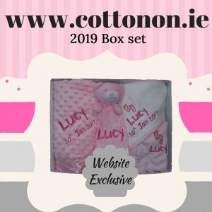 2019 Box set cotton on personalised box set gift pram blanket comforter hooded towel baby grow, pink blue name date of birth beautiful embroidered gift