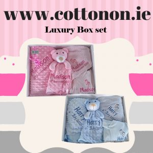 Luxury Boxset Dimple Pram Blanket Comforter Hooded Towel Babygrow personalised embroidered baby gift blanket new born babygift delivered name date of birth cotton on Pink Blue White Personalised baby gift ireland