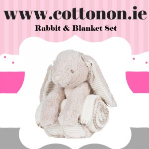 Rabbit with Blanket personalised by Cotton On will make a great alternative to an Easter egg embroidered with embroidery thread