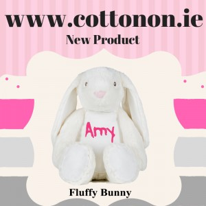 Fluffy Bunny personalised by Cotton On will make a great alternative to an Easter egg embroidered with chocolate coloured thread.