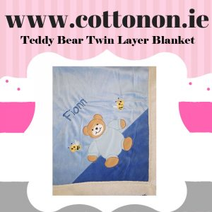 Teddy Bear Twin Layer Blanket Pram Blanket personalised embroidered baby gift blanket new born babygift delivered name date of birth cotton on