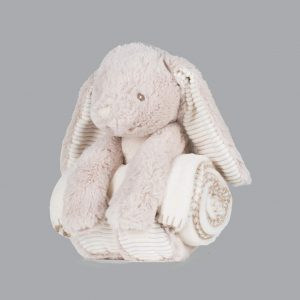 Rabbit with Blanket personalised by Cotton On will make a great alternative to an Easter egg embroidered with chocolate coloured thread