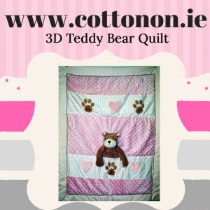 3D Teddy Bear Quilt Blanket personalised embroidered baby gift blanket new born babygift delivered name date of birth cotton on