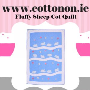 Fluffy Sheep Cot Quilt Blanket personalised embroidered baby gift blanket new born babygift delivered name date of birth cotton on