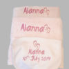 Baby Towel Set Pink or Blue cotton on personalised set gift bib Hand towel, Bath Towel name date of birth beautiful embroidered gift