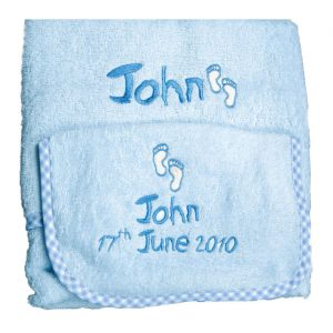 Hand Towel and Bib with Gingham trim cotton on personalised set gift bib, pink blue name date of birth beautiful embroidered gift