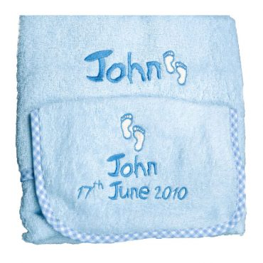Gingham Hand Towel and Bib