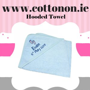 Hooded Towel Blue cotton on personalised set gift bib hooded towel, pink blue name date of birth beautiful embroidered gift