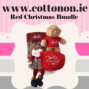 Red Christmas Set Bundle 3D Christmas Stocking Christmas Teddy 1st Christmas 2020 Bib personalised embroidered baby gift new born babygift delivered name cotton on Red Personalised gifts Ireland Christmas