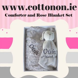 personalised gifts ireland Pram Blanket and Comforter Set personalised embroidered baby gift blanket teddy new born babygift delivered boxset name date of birth cotton on comforter Grey