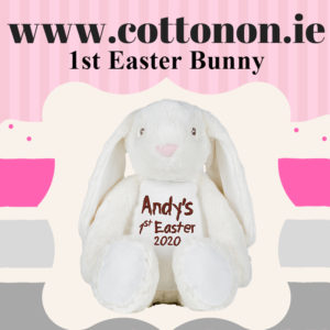 Easter Bunny personalised for 1st Easter 2020, Cotton on personalised gift Beautiful embroidered Gifts name and date