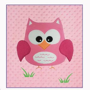 Cot Quilt Blanket personalised embroidered baby gift blanket new born babygift delivered name date of birth cotton on Pink Owl